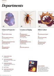Table of contents: departments